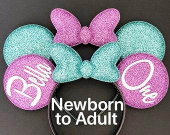Ariel Minnie Ears,Mermaid Minnie Ears,baby Minnie ears,Personalized Minnie Ear,Minnie Ears Headband,Minnie Ears Elastic Headband,Purple