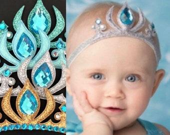 Elsa Elastic headband,Elsa crown,Elsa baby costume,disney princess crown,baby elsa crown,Silver and blue, Elsa dress,Elsa outfit,Elsa tiara