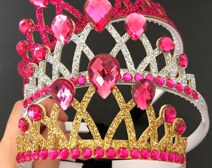 Aurora Crown,Pinkalicious,Hot pink Crown,Crown Headband,Tiara crown,birthday girl accessory,birthday crown,cake smash,photo prop,baby crown