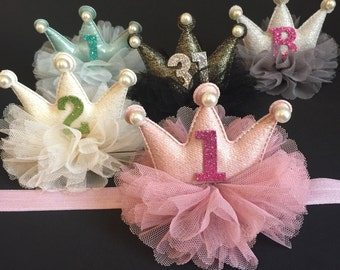Crown Headband,Birthday Headband,Birthday Baby Headband,baby shower gift,first birthday headband,one year birthday,1st birthday,baby crown