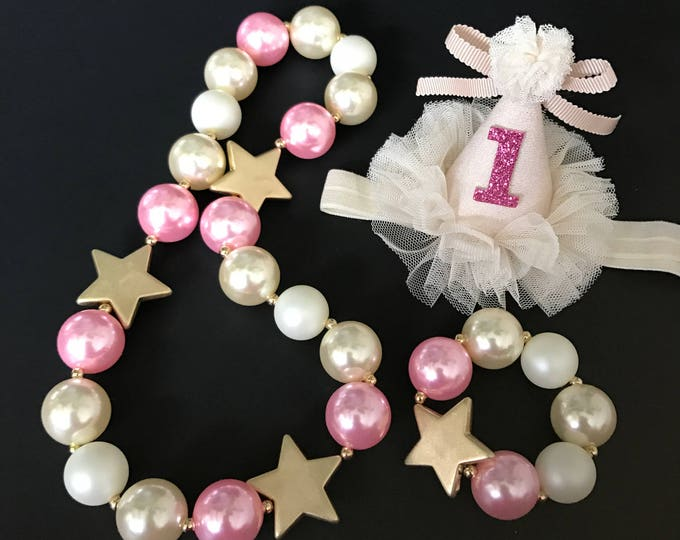 Gold Star Chunky Necklace,Gold Star Baby Necklace,Star Bubblegum necklace,Pink Color Chunky necklace,Star Chunky Necklace,Pink and Ivory