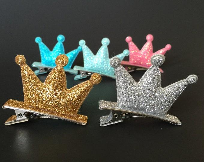 Crown Hair Clip,Glitter Crown Hair Clip,Little Girls Hair Clip,Felt Crown,party crown,glitter crown,party crown,birthday crown,pink crown