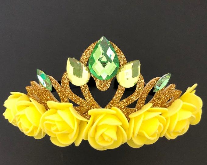 Tina Crown,Tiana Elastic headband,The Princess and the frog,Tiana costume,Tiana outfit,Tiana dress,Crown headband,Birthday crown,green crown