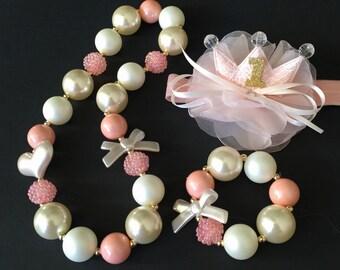 Peach Color Chunky Necklace,Peach Bubblegum necklace,Coral Color Chunky necklace,Flower Crown,First Birthday Necklace,1st Birthday Crown