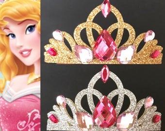 Aurora Crown,Aurora Elastic Headband,Sleeping Beauty Crown,Aurora Headband,Disney Aurora crown,princess Aurora crown,pink crown,Aurora theme