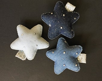 Set of 3,Blue Jeans Hair Clip,Toddler Hair Clip,Glitter Hair Clip,Star Hair Clip,Little Girl Hair Clip,Baby barrette,glitter hair clip,star