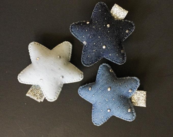 Set of 3,Blue Jeans Hair Clip,Toddler Hair Clip,Glitter Hair Clip,Star Hair Clip,Little Girl Hair Clip,Baby barrette,glitter hair clip,star