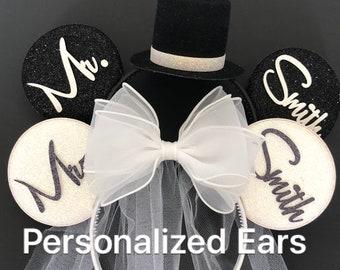 White Bride Minnie Ear,BRIDE & GROOM Mouse Ear,Anniversary ear,Wedding Minnie ears,Personalized Minnie ear,Mickey Ears Headband,custom ears