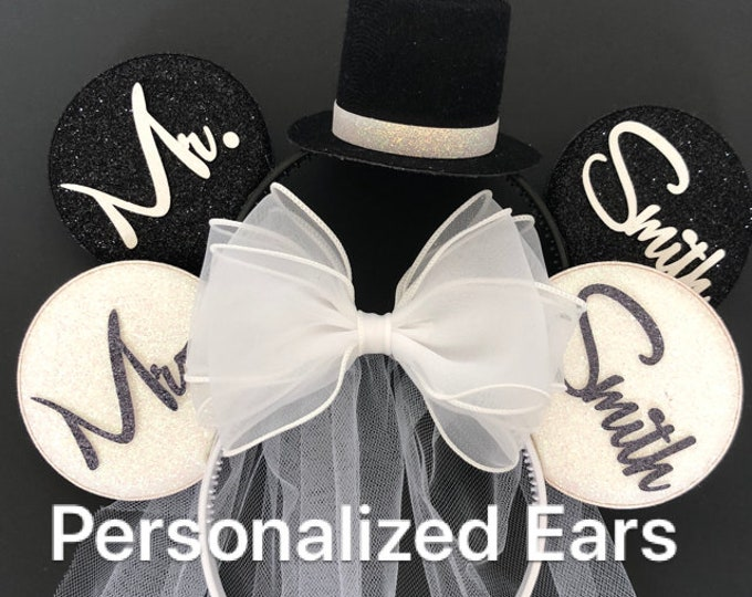 White Bride Minnie Ear,BRIDE & GROOM Mouse Ear,Anniversary ear,Wedding Minnie ears,Personalized Minnie ear,Mickey Ears Headband,custom ears