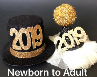 2019 Hat,Black glitter cone hat,Kids Baby New Years Photo Prop,Elastic headband,2019 Party,gift for grand daughter,New Years hat,Gold hat