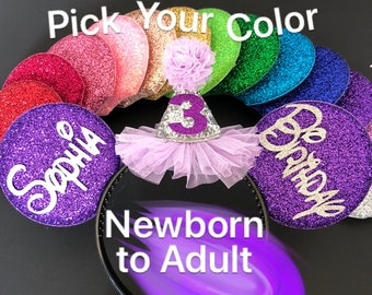 Birthday Minnie Ear,Purple Mickey Ear,Disney Minnie Birthday Hat,Personalized,Customized,EarsHeadband,Minnie Elastic Headband,Princess Sofia