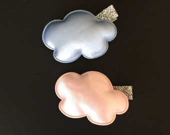 SALE!,Cloud Hair Clip,Toddler Barrette,Cloud Shape Accessory,satinet hair clip,felt cloud,puffy cloud,rainbow hair clip,piggy tail hair clip