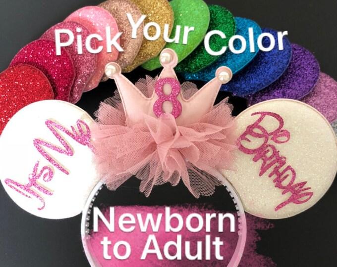 Pink Birthday Minnie Ears,Minnie theme Birthday,Mouse Ear,Minnie Elastic Headband,Minnie Ear Headband,Minnie Ears Elastic Headband,Mini Ears