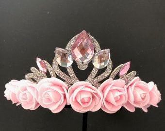 Disney Aurora crown,Aurora Headband,Aurora Elastic Headband,Pink Flower Crown,Sleeping Beauty theme,baby crown,Flower girl crown headband
