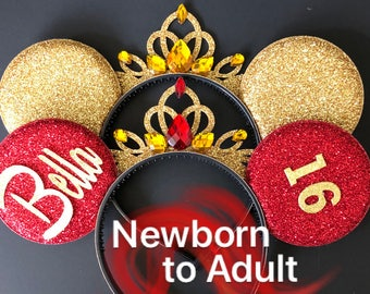 Belle Minnie ears,Belle Birthday Ears,Belle Mickey Ear,Minnie Mouse ear,Princess Ear,Beauty and the Beast,Red ear,Personalized Ear,Customize