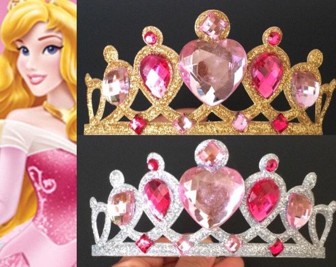 Aurora Crown,Aurora Headband,Aurora Elastic Headband,Sleeping Beauty Crown,disney princess crown,,Princess Aurora,pink crown,belle Crown