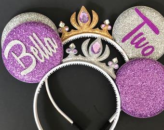 Sofia Minnie Ears,Sofia Crown Minnie Ears,Tiara Minnie Ears,Purple Minnie Ears,Princess Minnie Ears,Princess Ears,Sofia Mickey Mouse ears