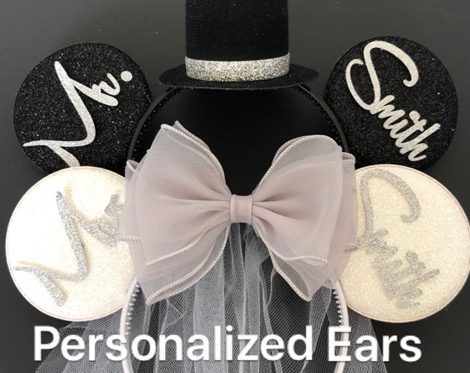 Silver Bride Minnie Ear,BRIDE & GROOM Mouse Ear,Anniversary ear,Wedding Minnie ears,Personalized Minnie ear,Mickey Ears Headband,custom ears