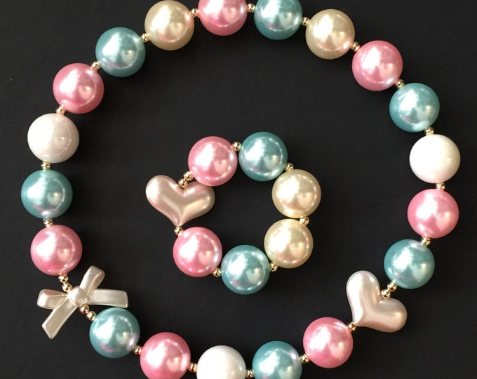 SALE!!,Pink and Teal Chunky Necklace,Teal Baby Necklace,Pink and Teal Bubblegum necklace,Pink and Teal baby necklace,Baby Chunky Necklace
