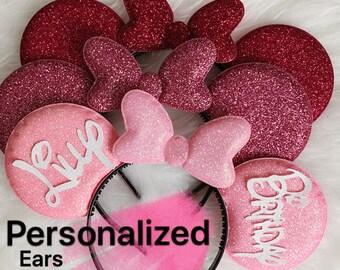 Pink Minnie Ear,Hot pink,Light pink,Customized,Personalized Mickey Ear,Birthday Ear,Minnie Elastic Headband,headband with name,monogram,gift