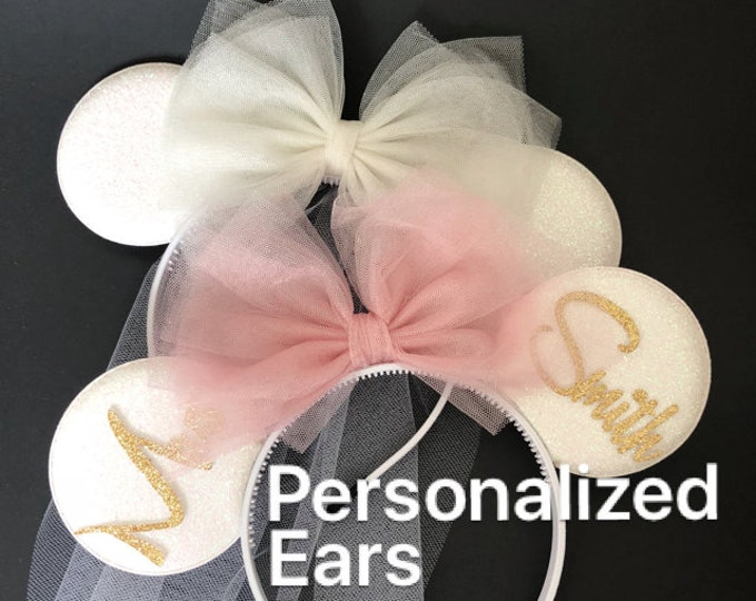 White Bride Minnie Ear,Rose Gold Minnie ear,Minnie Bride Ear,Personalized Minnie ear,I Do Minnie Wedding,Mickey Ear Headband,Bridesmaid ears
