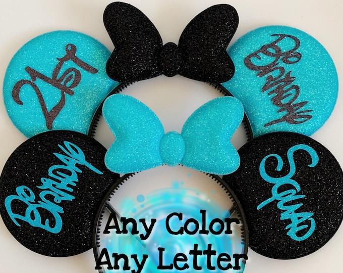 Mint Birthday Minnie Ears,Birthday Mickey Ear,Birthday Hat,Personalized ear,Disney Ears Headband,Minnie Elastic Headband,Customized,name