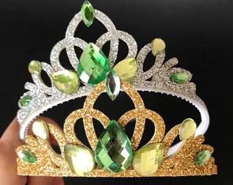 Tiana Crown,Tiana Elastic Headband,Tinker Bell Elastic Headband,Princess and frog crown,green crown,frog princess crown,Tiana baby Headband,