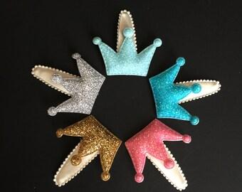 Crown Snap Clip, Glitter Hair Clip,Hair clip for twins,Little Girls Glitter Hair Clip,Girl hair accessories, Girl Hair accessory, crown clip