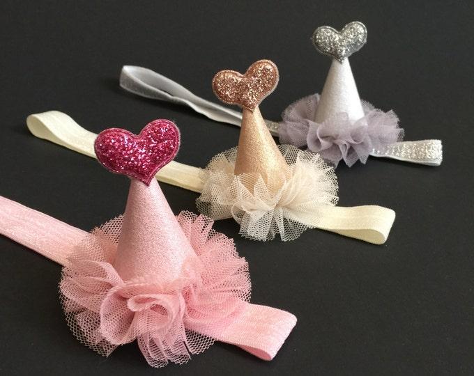 Party Cone,Hat Headband,Baby Birthday Headband,girl 1st birthday,party hat for baby,baby shower gift,first birthday party headband,baby cone