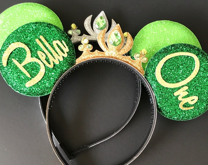 Tiana Minnie Ears,Tinker Bell Minnie Ears,Personalized Minnie Ears,Customized Ears,Crown Minnie Ears,Tiara Minnie Ears,Princess Minnie Ears