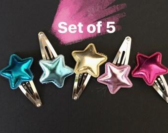 SALE,Hair Clip Set,Star Hair Clip,Star,Spring Hair Clip,baby girl hair clip,glitter star hair clip,star snap clip,snap clip set,piggy tail,