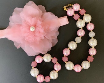 Pink Flower Headband Set,Indi Pink Chunky Necklace,Pink and Gold Bubblegum,Dust Pink and Silver,Pearl,First Birthday Headband,Infant,Kids
