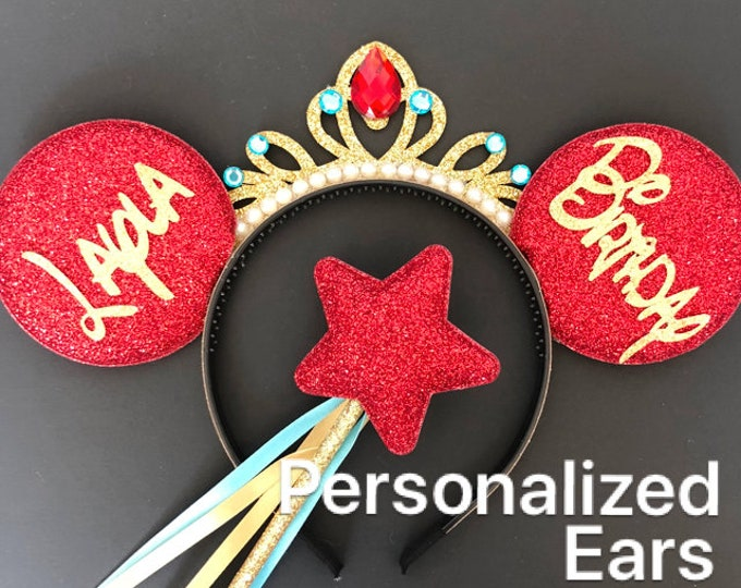 Elena Minnie Ear,Elena Mickey Ear,Elena Minnie Headband,Personalized Minnie Ear,Customized Ear,Tiara Minnie Ears,Princess Minnie Ears,crown