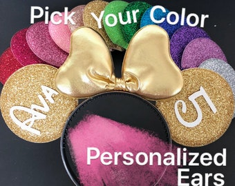 Gold Minnie ear,Personalized Minnie Ears,Birthday Minnie ears,Customized Ear,Bachelorette Party Mouse Ears.monogrammed,personalized gift