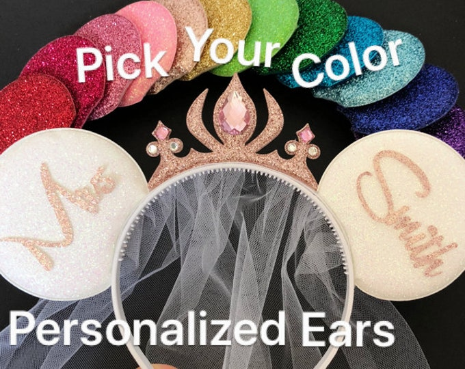 Rose gold Minnie Ears,BRIDE & GROOM Mouse Ears,Wedding Minnie ears,Anniversary ear,Personalized Minnie ear,Mickey Ears Headband,custom