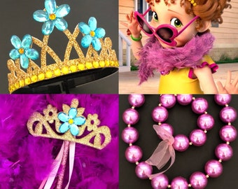 Disney Fancy Nancy Crown,Costume,Feather Boa,Tiara,Fancy Nancy head piece,Fancy Nancy Accessories,flower crown,Halloween crown,Earrings,Ring
