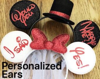 BRIDE & GROOM Mouse Ears,Red Minnie Ear,Wedding Minnie ears,Anniversary ears,Veil Bride Ears,Personalized Minnie ear,Mickey Ear Headband