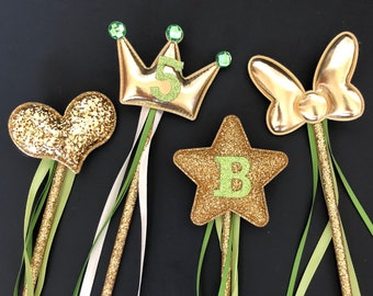Tinker Bell Wand,Tiana Wand,Green color Wand,Tinker Bell outfit,Tiana outfit,Glitter Wand,birthday Wand,gold and green,baby photo prop,name