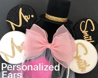 Pink Bride Minnie Ear,BRIDE & GROOM Mouse Ear,Anniversary ear,Wedding Minnie ears,Personalized Minnie ears,Mickey Ears Headband,custom ears