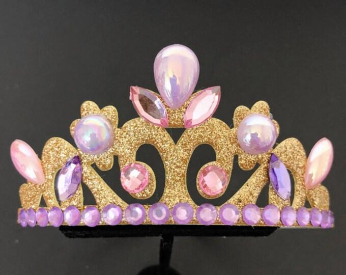 Rapunzel Crown,Tangled Crown,Rapunzel Elastic Headband,Rapunzel Tiaral,Disney princess Crown,birthday crown,Purple and pink,Purple Crown