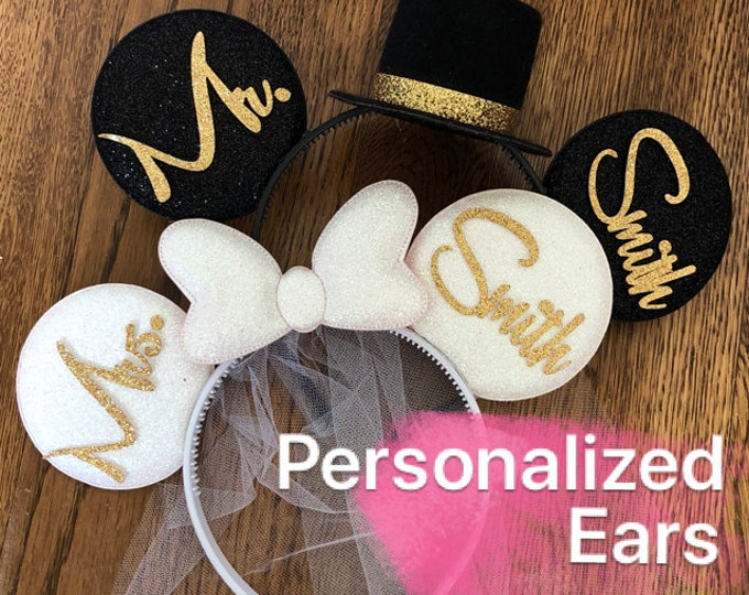 Bride Minnie Ears,Wedding Minnie ears,Anniversary ears,White Minnie Ears,Personalized Minnie ears,Mickey Ears Headband,custom ears,Groom ear