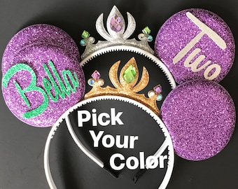 Ariel Minnie Ears,Ariel Crown Minnie Ears,Birthday Minnie Ears,Princess Minnie Ears,Princess Ears,Ariel Minnie Headband,Mermaid Mickey Ears