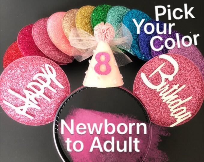 Birthday Minnie Ears,Baby Minnie Ears,Minnie Mouse Birthday,Ears Headband,Minnie Elastic Headband,Baby Mouse Ears,Mickey Ears,Mini Ears
