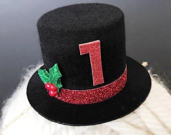 Christmas Top Hat,Baby Christmas Photo Prop,Christmas Elastic headband,Christmas Party Hat,gift for grand son,christmas birthday boy