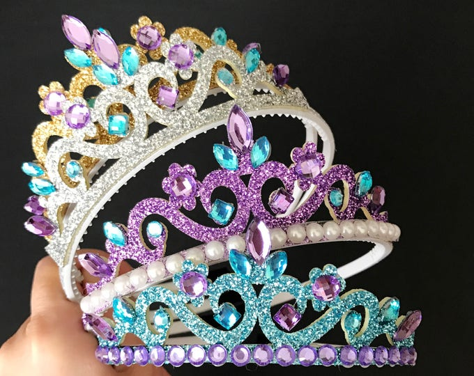 Ariel Crown,Purple and Blue Crown,The Little Mermaid Crown,Ariel Elastic Headband,Purple and Blue Costume,disney princess crown,Ariel Tiara