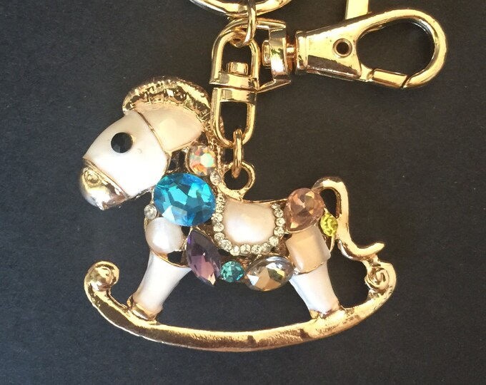 SALE!!!,Horse Keychain,Horse Keyring,Gift,Pony Keychain,Pony Keyring,Rhinestones Horse,Pony Charm,Horse Charm,Designer Jewelry,rocking horse