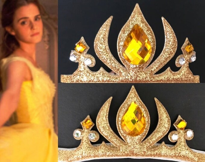 Belle Crown,Belle Elastic Headband,Belle Headband,Belle Crown Headband,Disney belle crown,disney princess crown,Beauty and the Beast 2017