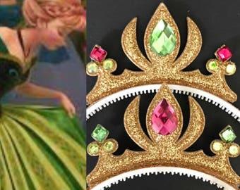 Anna Crown,Anna Headband,Anna Elastic Headband,Frozen Anna Crown,Anna green dress,Frozen theme,Elsa theme,Princess Crown,disney princess