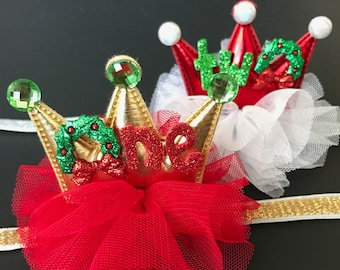 Christmas Crown,Christmas Elastic headband,Baby Christmas Photo Prop,Christmas Party,gift for grand daughter,christmas birthday,newborn