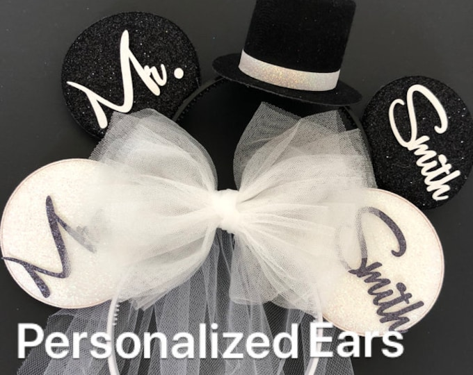 BRIDE & GROOM Mouse Ears,Wedding Minnie ears,Anniversary ears,White Bride Minnie Ears,Personalized Minnie ears,Mickey Ears Headband,custom